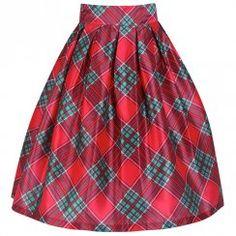 'Marnie' Red Tartan Circle Skirt