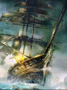 """""""If you want to build a ship, don't herd people together to collect wood and don't assign them tasks and work, but rather teach them to long for the endless immensity of the sea. Pirate Art, Pirate Life, Pirate Ships, Ship Illustration, Bateau Pirate, Old Sailing Ships, Pirate Adventure, Ghost Ship, Ship Paintings"""