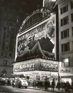 "Movie marquee of the Astor theater for ""Kismet"" starring Marlene Dietrich and Ronald Colman. Photograph by Peter Stackpole. New York City, November Ronald Colman, Vintage Movie Theater, Vintage Movies, Vintage Stores, Vintage Photographs, Vintage Photos, Antique Photos, Antique Cars, Old Pictures"