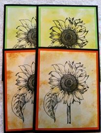 4 Beautiful handcrafted paper sunflower cards.  by 2curlycues