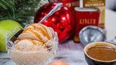 Recipe - Holiday Roasted Pear Cinnamon Ice Cream with Ginger Caramel Swirl - Home & Family Holiday Treats, Holiday Recipes, Family Recipes, Christmas Recipes, Snack Recipes, Dessert Recipes, Snacks, Cinnamon Ice Cream, Roasted Pear