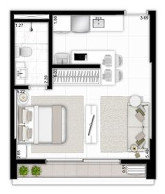 Architektur haus ,Grundrisse Wohnung Small Plan Studio Apt 33 Ideen The Garden As Healer Small Apartment Plans, Studio Apartment Floor Plans, Studio Apartment Layout, Studio Layout, Studio Apt, Apartment Design, Small Apartments, Small Apartment Layout, Small Studio