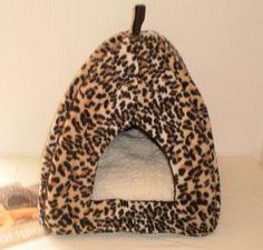Cat Kitten Leopard Print Luxury Soft House Igloo Warm Bed Cave Cushion Basket