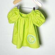 Toddlers Peasant Blouse with Custom Personalized Monogram Girls Peasant Shirt. $24.00, via Etsy.