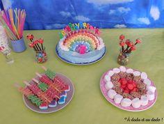 Présentation de la table d'anniversaire sur le thème de l'arc-en-ciel. Tables, Birthday Cake, Desserts, Food, Children, Kitchens, Mesas, Tailgate Desserts, Deserts