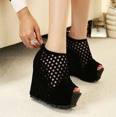 Black Wedge Heel Peep Toe Shoes