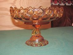 SPRING CLEANING SALE Westmoreland Amber Lace Doric The measurements are 7 inches tall, 9.5 inches across and the base measures 4.5 inches. This compote weighs over 3 and one half pounds, so just in the weight it is a substantial piece of glass art.  by shapadream, $36.00