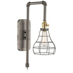 """Grier Gray Industrial Wire 15"""" High Wall Sconce"""