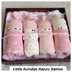 Baby Gift Set Nappy Cake Nappy Babies by LittleBundleByMinnie