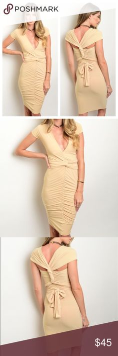 LAST ONE! Convertible Bandage Dress Beige Cap sleeve gathered front tie back bandage mini dress. Can be worn different ways. ONLY 1 SMALL LEFT! Dresses