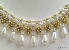 Princess Statement Necklace Pearl Woven Necklace Handwoven Pearls necklace Bridal Jewelry Renaissence Elegant Graceful Necklace USD) by SilviaLaViola Seed Bead Necklace, Seed Bead Jewelry, Bead Jewellery, Crystal Jewelry, Jewelry Necklaces, Beaded Necklace, Jewelery, Pearl Embroidery, Bead Embroidery Patterns