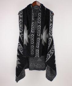 Another great find on #zulily! Black Geometric Eyelash Vest #zulilyfinds
