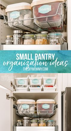 Budget friendly, easy organization ideas for a small pantry using Ikea, Dollar Tree & upcycled containers and free printable pantry labels Junk Drawer Organizing, Small Pantry Organization, Medicine Cabinet Organization, Kids Room Organization, Organization Hacks, Pantry Ideas, Organizing Tips, Cleaning Hacks, Small Pantry Cabinet