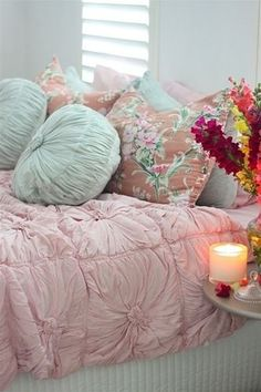 Shabby chic bedroom. like the pink and mint tones with soft brown