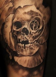 Perfect skullrose tattoo
