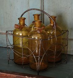 Vintage French Amber Pharmacy Bottles