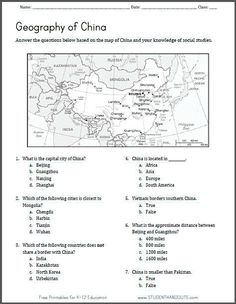 Printables Social Studies Worksheets For 6th Grade printable maps the ojays and keys on pinterest china map geography worksheet free to print