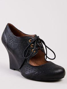 JEFFREY CAMPBELL LESLIE Mary-Jane lace Black leather Wedge Oxford Pump sz Women