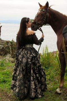 Mary (Adelaide Kane) and her horse behind the scenes on #Reign on the CW