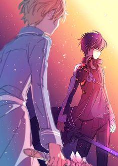 Eugeu (AI) & Kirito (Kazuto) [Alicization Arc] - By Sword Art Online ღ Arte Online, Kunst Online, Online Art, Manga Anime, Sao Anime, Kirito Sword, Kirito Asuna, Neue Animes, Eugeo Sword Art Online
