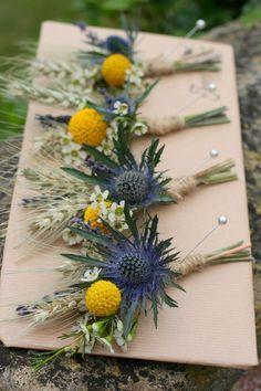 Boutonnieres with Thistle, Craspedia, Wax Flower, and dried Wheat #SeptemberWeddingIdeas
