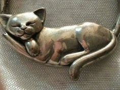 Vintage Sterling Silver Sleeping Kitty Cat Pendant Signed Kabana So Cute | eBay