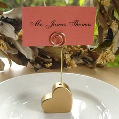 gold place card holders for weddings | gold heart place card holders these cute gold heart place