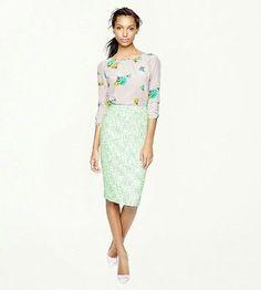 $128 J. Crew No. 2 pencil skirt in clover tweed, emerald kelly green, xxs 00