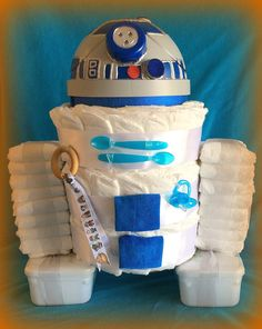14 Baby Shower Diaper Gifts And Decorations Baby Shower Crafts, Baby Shower Decorations, Shower Gifts, Baby Shower Diapers, Baby Boy Shower, Baby Showers, Juegos Baby, Nappy Cakes, Star Wars Baby