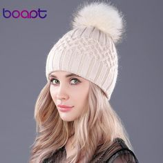 b116645823a Boapt Brand Dyeing Real Raccoon Fur Pompon Double-Deck Soft Rabbit Knitted  Hats For Women S