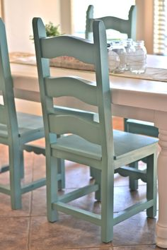 Spray paint color for chairs is Jade by Krylon. Great color!