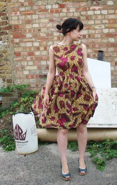 1950s dress with African wax fabric at Burdastyle