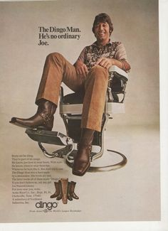 1971 Joe Namath Dingo Boots Advertisement NFL Football Star Barber Chair New York Jets LA Los Angles Rams Collectible Wall Art Decor Retro Ads, Vintage Advertisements, Vintage Ads, Vintage Posters, Vintage Photos, Retro Advertising, Vintage Magazines, Acme Boots, Dingo Boots