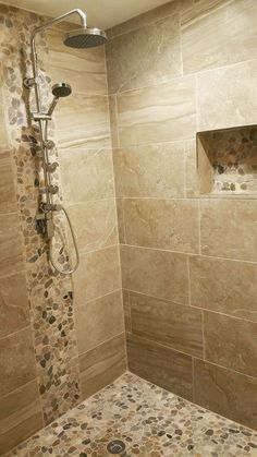 Feeling this warm Zen like shower with warm earth tones of our Pebble Stone Sliced Mixed Tile on floor backsplash and caddy Pebble stone shower ideas Zen shower ideas. Bathroom Tile Designs, Bathroom Design Small, Bathroom Interior Design, Bathroom Ideas, Bathroom Renovations, Shower Designs, Bathroom Organization, Small Bathrooms, Bath Design