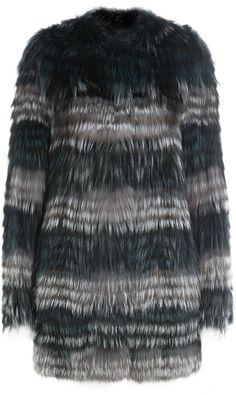Yves Salomon Variegated Fox Fur Coat