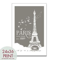 Paris Eiffel Tower Travel Poster - 24 x 36 Art Poster Print (Featured in Charcoal Grey) customize colors