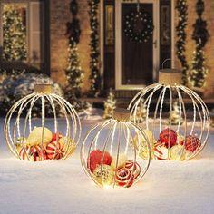 Holiday Lights, Holiday Ornaments, Christmas Lights, Christmas Holidays, Large Outdoor Christmas Ornaments, Outside Christmas Decorations, Easy Christmas Crafts, Christmas Projects, Outdoor Decorations
