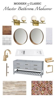My Dream Master Bathroom Design Plan with brass fixtures, kilim rug, rustic floors, modern vanity and mirrors - Simple Stylings - http://www.simplestylings.com