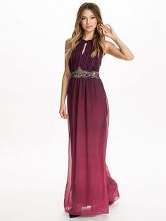 Two Tone Embellished Maxi Dress - Little Mistress - Roze/Paars - Feestjurken - Kleding - Vrouw - Nelly.com >100 euro