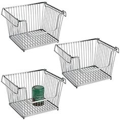 Amazon.com: mDesign Modern Stackable Metal Storage Organizer Bin Basket with Handles, Open Front for Kitchen Cabinets, Pantry, Closets, Bedrooms, Bathrooms - Large, 3 Pack - Silver: Kitchen & Dining Food Storage Organization, Space Saving Storage, Storage Baskets, Wire Storage, Freezer Storage, Corner Storage Shelves, Kitchen Pantry Storage, Airtight Food Storage Containers, Vertical Storage