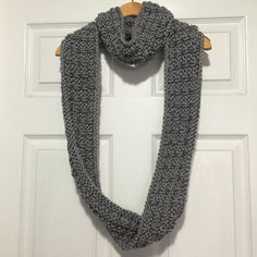 Grey Chunky Knit Long Infinity Scarf by KnitbyTobi on Etsy #scarf #infinityscarf #knit #knitting