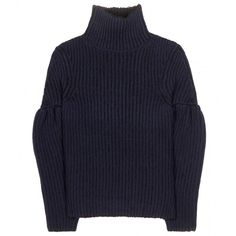 Victoria Beckham Wool-Blend Turtleneck (8.245 HRK) ❤ liked on Polyvore featuring tops, sweaters, blue, turtleneck tops, polo neck sweater, navy tops, turtle neck tops and victoria beckham tops