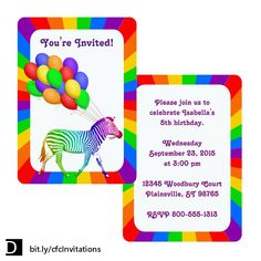 Catch the attention of your invitees with this fun party invitation which features a profile of a multi-colored zebra trotting inside of a ring of rainbow colors and pulling along a bunch of colorful balloons. The text on the front and back can be customized as you wish. #StudioDalio #birthday #Celebrations  #stationery