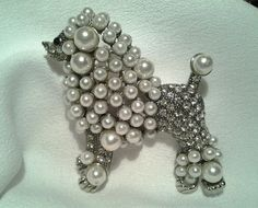 Vintage Silver French Poodle Dog Faux Pearl Beaded Crystal Stone Brooch Pin Box #Unbranded