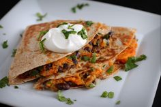 Black Bean and Sweet Potato Quesadilla:: Pepper Lynn