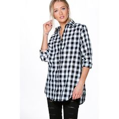 Boohoo Connie Gingham Cotton Oversized Shirt ($30) ❤ liked on Polyvore featuring tops, t-shirts, black, long sleeve tee, long sleeve jersey shirt, cotton t shirt, long sleeve t shirt and crew neck t shirt