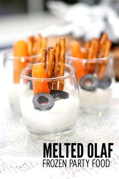 Kid's Party Food Melted Olaf Snack Idea. Frozen Party Ideas