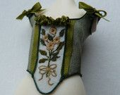 Green silk embroidered Corset c 1740