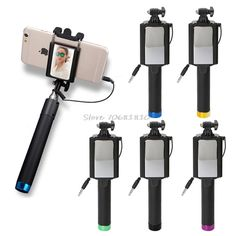 Universal Portable Hand Cable Holder Extendable Selfie Stick Folding Self Timer Rod With Mirror For iPhone Samsung Xiaomi Huawei #Affiliate