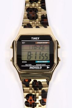 Timex 80 Leopard Gold Digital Watch. Er gold & leopard print what's not to like.